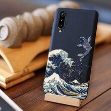 Pour Xiao mi mi 9 housse couverture arrière globale silicone givré bouclier antichoc avec 3D grand relief en relief capas mi 9 SE
