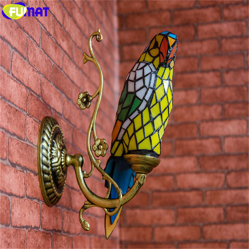 FUMAT Parrots Wall Sconce Lamps Stained Glass Decor Wall Lights For Living Room Stair Tiffany Art Parrot Shade Glass Wall Lamps novelty led wall lamps glass ball wall lights for home decor e27 ac220v