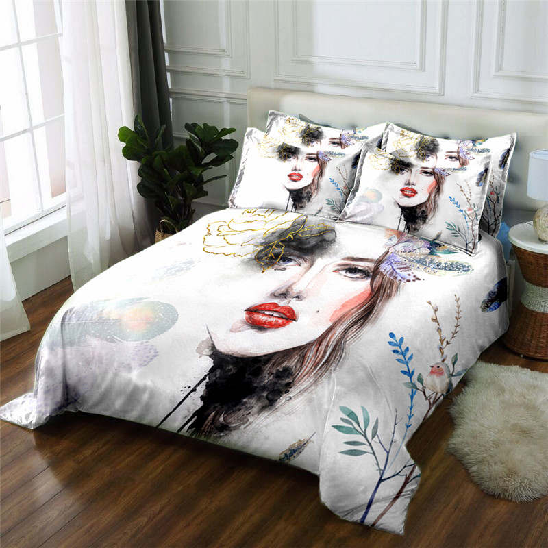 New Product sex lady 3D printed 4 Pcs Bedding Set Microfiber Bedclothes Bed Linens Duvet Cover Set Bed Sheet - 6