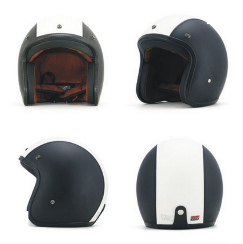 Leather Halley Helmets Motorcycle Retro Half Cruise Prince half face open face black white Helmet DOT Approved ...