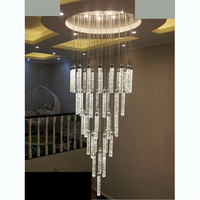 Villa duplex stair chandelier simple LED bubble column living room crystal stainless steel led lighting fixture led fixture lamp