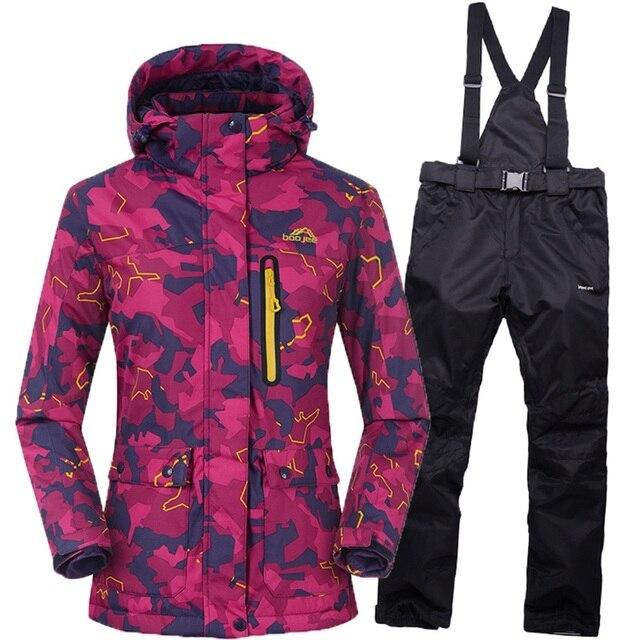 Новый женский лыжный костюм 2016 зимний непромокаемый теплый женский лыжный костюм для горных лыж сноуборд куртка Женские дышащие зимние комплекты
