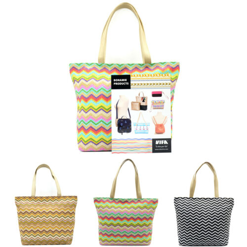 Fashion Straw Bag !! High Quality With 100% New Brand Women Summer Beach Woven Shoulder Tote US