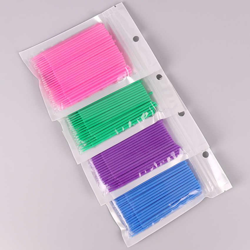 100 PCS/lot Durable Micro jetable Extension de cils applicateurs individuels Mascara brosse pour les femmes
