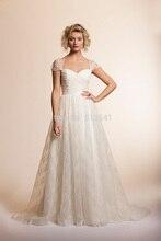 Cap Sleeves Lace Wedding Dresses A Line Sweetheart Pleats Zipper Back Applique Sweep Train 2014 Bridal Gowns yk1A861