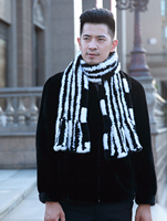[YCFUR] Men Scarf Shawl Winter Warm Handmade Knit Real Mink Fur Thicker Warm Scarves Male Winter Long Wraps Scarves For Women