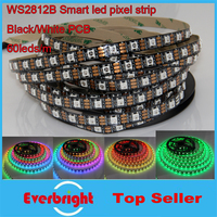 5M White/Black PCB 60Pixel/M WS2812B WS2812 2812 WS2812 IC RGB LED Pixel Strips Light 300leds Dream Color No Waterproof DC 5V