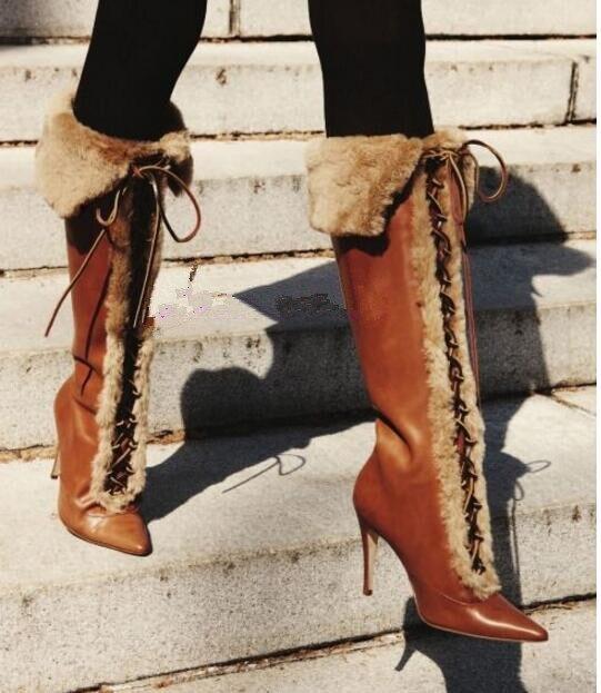 Kaeve Chaude PU Marron à Lacets Mode Cuissardes Bottes Bout Pointu Talon Aiguille 10.5 cm chaussures femme Croix-attaché Bottes de Chevalier