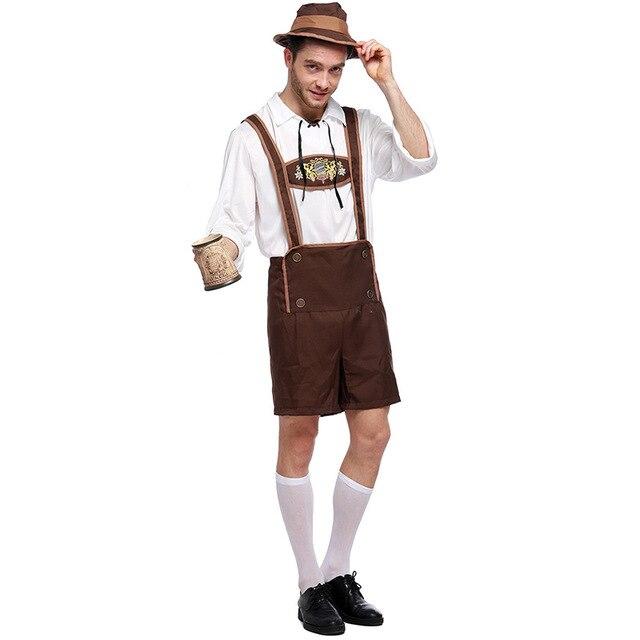 6e1d8323a6d57 Adulto Oktoberfest Lederhosen con Tirantes traje para hombre parejas  disfraces de Halloween party tamaño S m