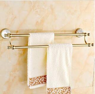 Free shipping (60cm) Double Towel Bar,Towel Holder,Solid Brass Made,Gold Finished,Bath Towel Rack Products,Bathroom Accessories free shipping 60cm double towel bar brief towel holder solid brass made gold finished bath products bathroom accessories