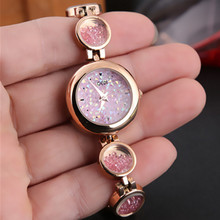 New Fashion Ladies Watch Alloy Waterproof Rose Gold Rhinestone Exquisition Watches Quartz Luxury Women Chronograph