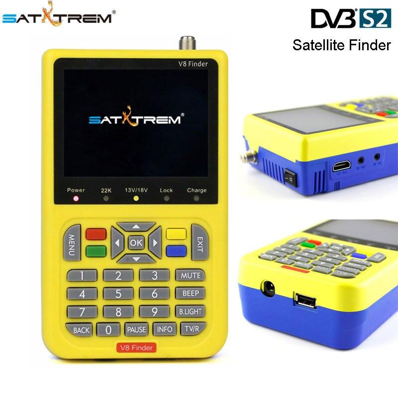 FTA Localizador de Satélite SATXTREM V8 Localizador DVB-S/MPEG-4 S2 1080 P de Alta Definição Com 3.5 polegada Display LCD Por Satélite localizador de sinal