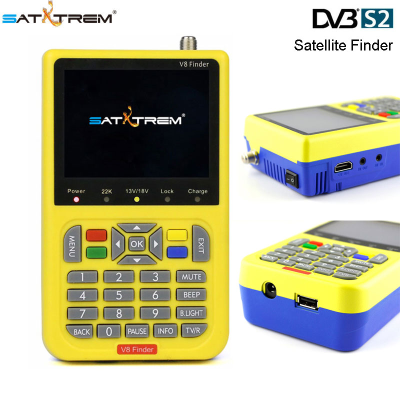 FTA Satellite Finder SATXTREM V8 Finder DVB-S/S2 1080P MPEG-4 High Definition With 3.5 inch LCD Display Satellite Signal FinderFTA Satellite Finder SATXTREM V8 Finder DVB-S/S2 1080P MPEG-4 High Definition With 3.5 inch LCD Display Satellite Signal Finder