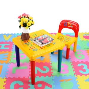 Image 2 - Plastik masa ve sandalye seti için çocuk/çocuk mobilya setleri yemek çocuklar sandalye ve çalışma masası setleri karikatür hızlı kargo