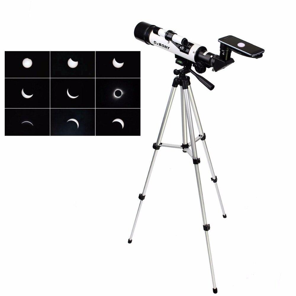 SVBONY 60mm Telescope F7 Solar Eclipse Sun Catcher Refractor for Solar Viewing Kids Telescope 100% Safe in US 21th Aug F9311B  цены