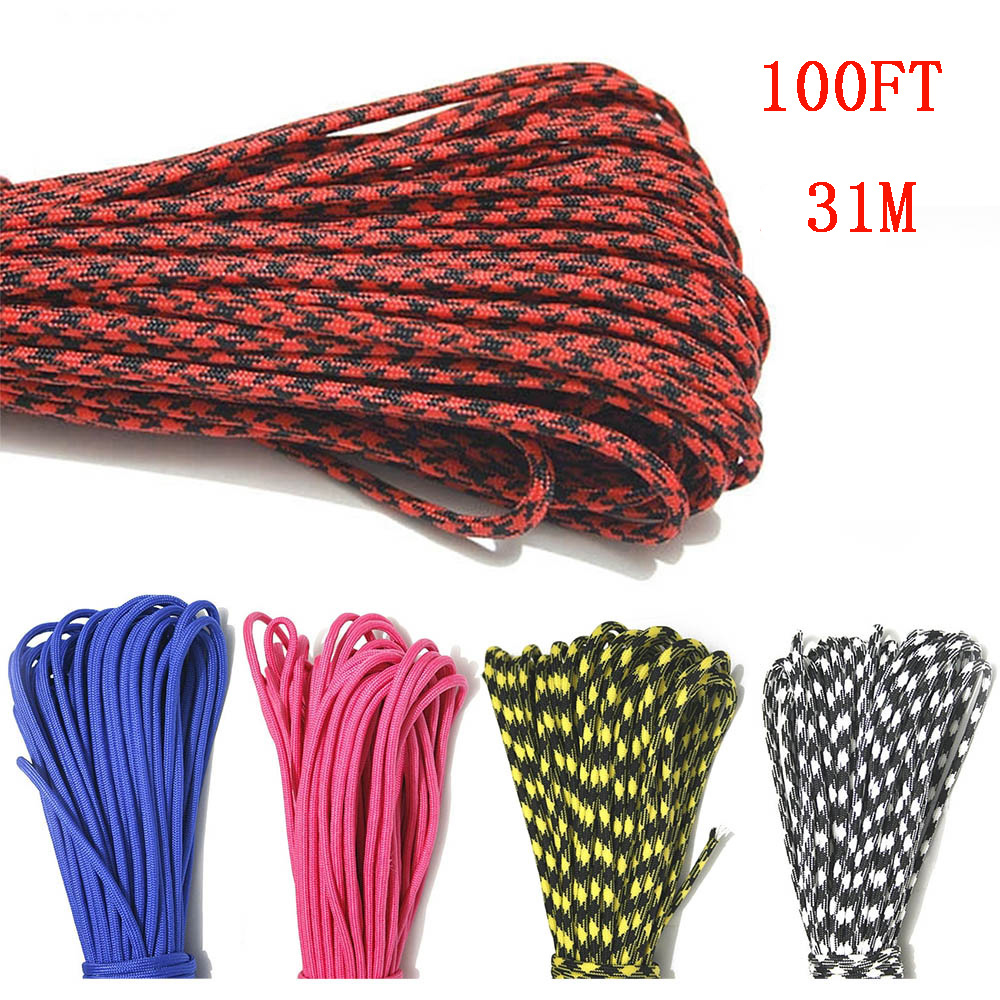 5 Colors Paracord 550 Paracord Parachute Cord Lanyard Rope Mil Spec Type III 7Strand 100FT Climbing Camping Survival Equipment