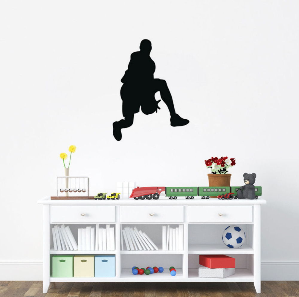 play basketball art wall stickers removable vinyl wall sticker hot sale gym sport decals decor for kids boys bedroom sa046b