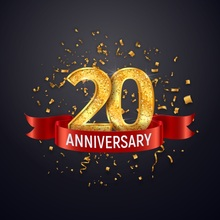 Laeacco Happy 20th Anniversary Golden Ribbons Party Poster Photographic Background Photo Backdrops Photocall Studio