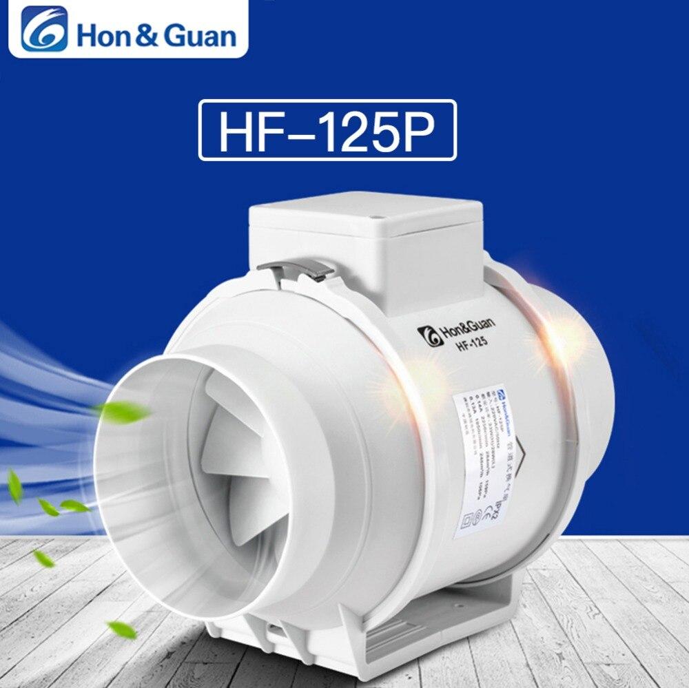 Hon & Guan 5 ''Silenziosa Inline Condotto della Ventola di Scarico Ventola Idroponica Aria Ventilatore per la Casa Bagno di Sfiato e Crescere camera di Ventilazione; HP-125P