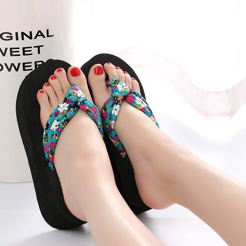DAOKFPO Women Broken Flower Slippers Fashion Summer Ladies Casual Beach Flops Slides Female High Heels Sandals Outdoor Shoes