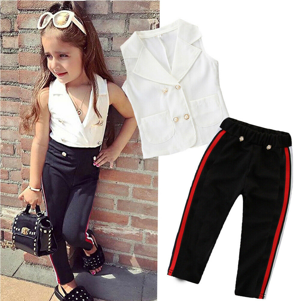 2019 New Style 2019 Newest Style Toddler Kids Baby Fashion Girl Infant Spring Summer Clothes T-shirt Top Pants Outfit Sets Tracksuit 2-7years