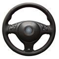Black Artificial Leather Car Steering Wheel Cover for BMW E46 E39 330i 540i 525i 530i 330Ci M3 2001-2003