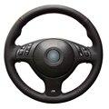 Couro Artificial preto Tampa Da Roda de Direcção Do Carro para BMW E46 E39 330i 525i 540i 530i 330Ci M3 2001-2003