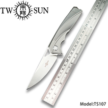 TWOSUN d2 blade folding Pocket Knife tactical knife camping knife hunting outdoor tool EDC Titanium ball Bearing Fast Open TS107 kesiwo ln801 folding pocket edc knife d2 blade titanium handle ball bearing system outdoor camping hunting fishing knife tools