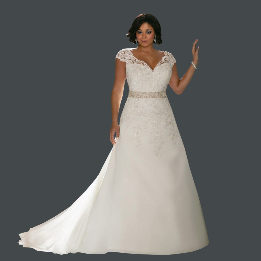 2016 Plus Size Wedding Dresses Best Quality V Neck Cap Sleeves Applique Beads New Bridal Dress Plus Size Wedding Dresses 2