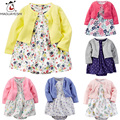 Baby Girls Clothing Sets Long Sleeve Pure Girls Winter Coat And Floral Print Romper Dress For Girls 2 Pcs Infant Girls Clothes