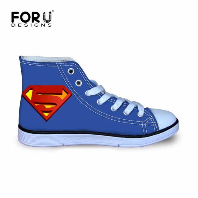 FORUDESIGNS Blue Superman Style Outdoor Walking Shoes Flat High Top Canvas Boys Shoe Children Lace Up Sneakers for School Travel