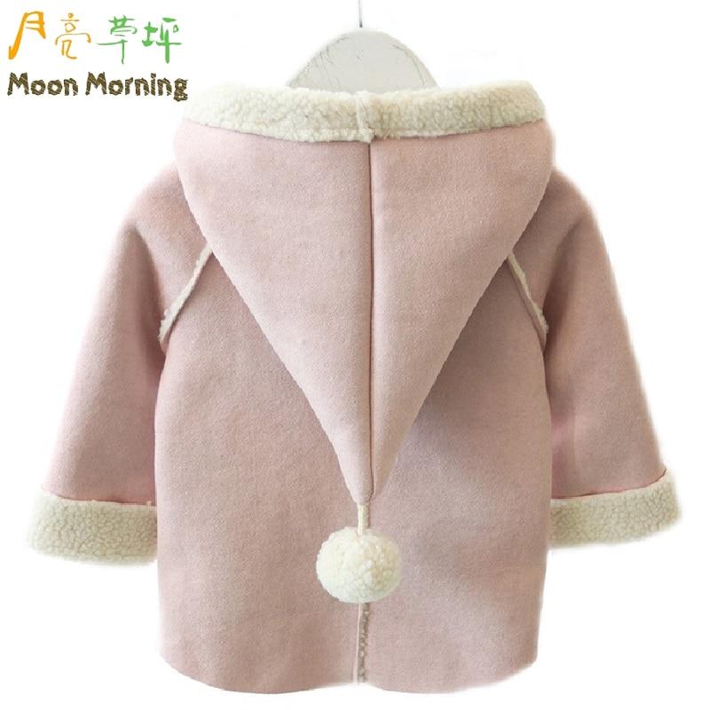 Moon Morning Kids Jacket Winter Pink Longo Autumn Jacket Hooded Wizard Girls Grament 12~4T Lovely Sweet Christmas Children Fille