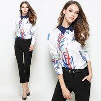 QA628 Chemise Femme Casual Long Sleeve Fashion Print Spring Blouse Shirt Women Turn Down Collar Cardigan
