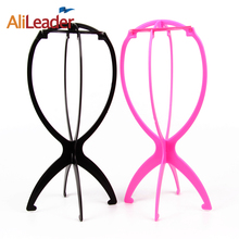 Ajustable Wig Stands Plastic Hat Display Wig Head Holders 1PC 18x36Cm Mannequin Head/Stand Portable Folding Wig Stand Black Pink(China)