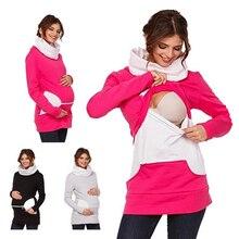 Autumn Warm Women Breastfeeding Sweatshirt Winter Maternity Clothing Tops Nursing Hoodie Lactation Clothes for Pregnant Mothers недорого