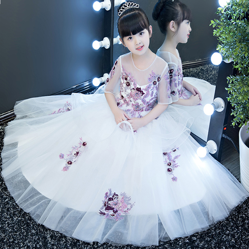 New European Luxury Elegant Girls Children Embroidery Flowers Princess Dress For Party Evening Birthday Long Dress Pageant Dress new european luxury children girls embroidery flowers long train princess dress for birthday wedding party kids pageant dress