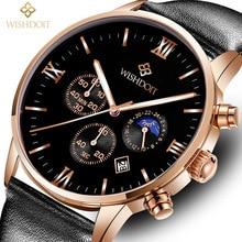 2017 WISHDOIT Top Brand Quartz Watch Men Casual Leather Hodinky Clock Fashion Military Sports Wristwatches Relogio Masculino