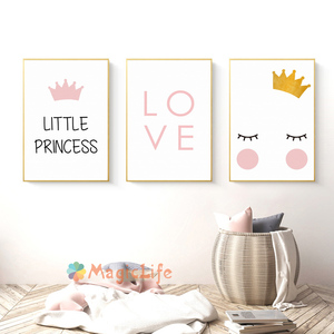 Image 4 - Little Princess Nursery Wall Art Canvas Painting Nordic Poster For Children Room Cuadros Wall Pictures Decoration Unframed
