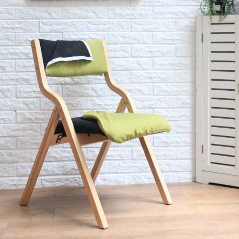 solid wood folding chair dining chair fabric washable simple fashion