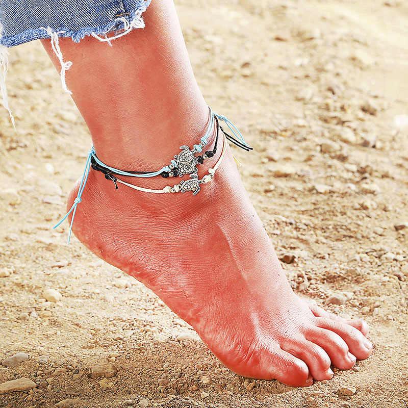 夏裸足ビーチヴィンテージ亀アンクレット女性のファッション文字列ひも足の宝石ミニマカメ足首のブレスレット