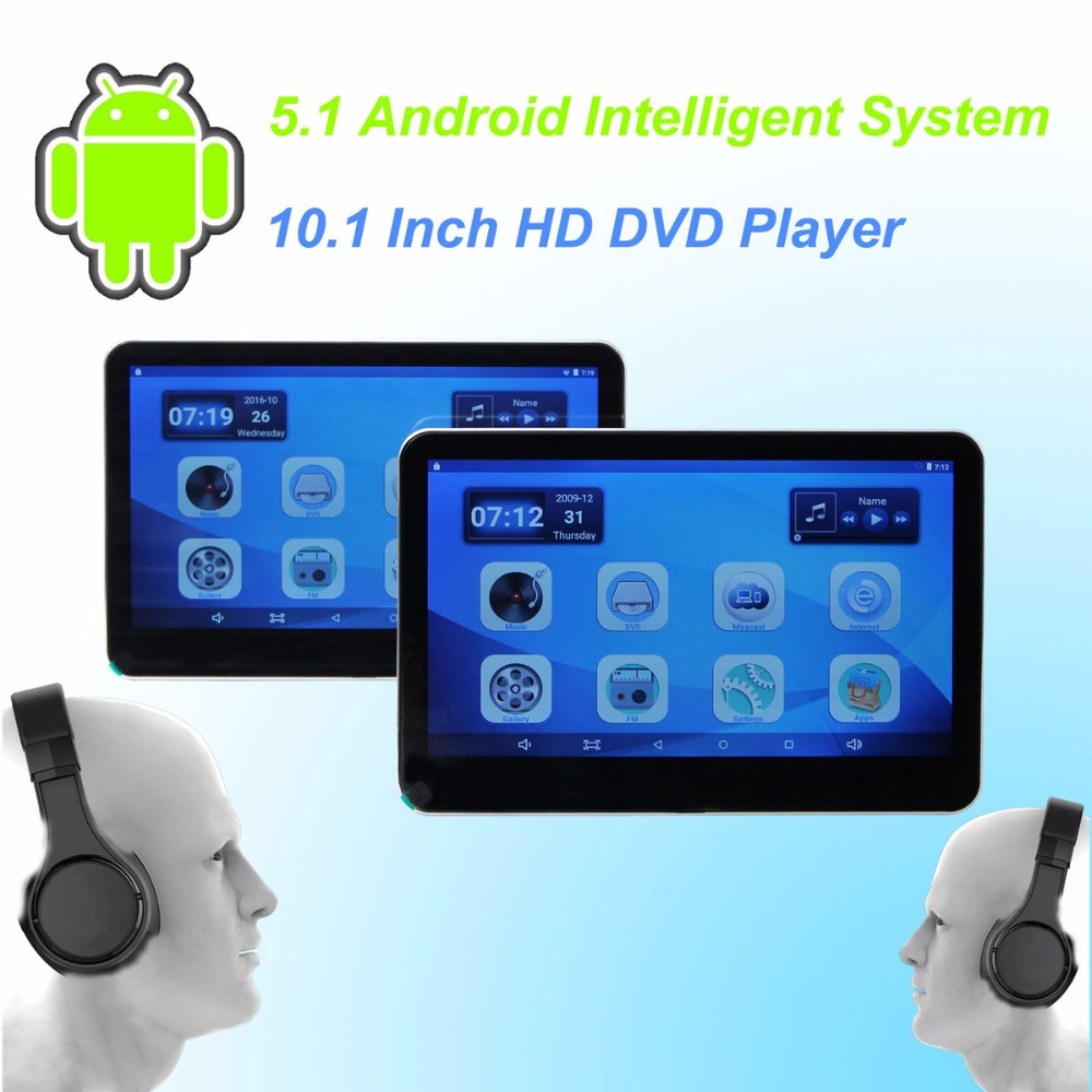 car headrest dvd player android 5 1 hd 10 1 inch monitor. Black Bedroom Furniture Sets. Home Design Ideas