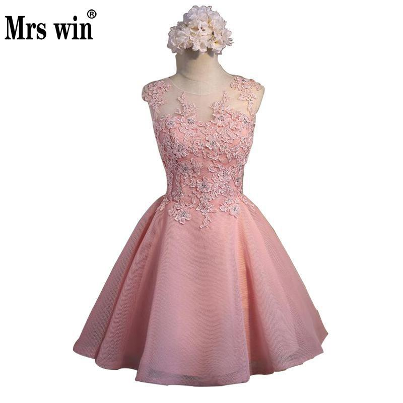 Short Evening Dress 2018 Sweet Pink O-neck Lace Ball Gown New Bride Party Formal Dress Custom Homecoming Dresses Robe De SoireeC