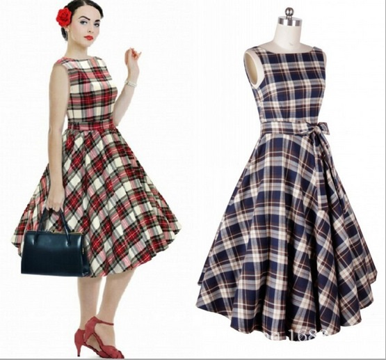 2015Retro 50s Vintage Dresses Rockabilly Swing Plaid Print Dresses ...