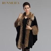 [RUNMEIFA] Winter Fashion Knitted Cardigan Women Bat Cape Shawl Collar Fashion Female women Faux Fur Shawl Overcoat Outwear