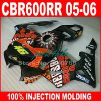 Низкая цена инъекции Формованных для Honda CBR600RR Обтекатели 2005 2006 Orange черный комплект обтекателей CBR 600 RR 05 06 CBR 600RR de5