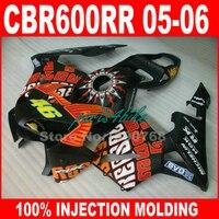 Lowest price Injection molded for HONDA CBR600RR fairings 2005 2006 orange black fairing kit CBR 600 RR 05 06 CBR 600RR DE5