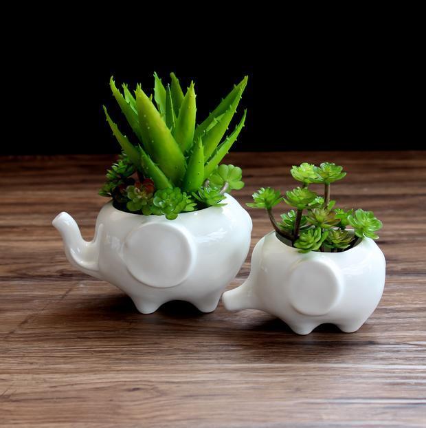 Tooth Shaped White Ceramic Flower Pot Home Garden Planter Teeth Desktop Decor