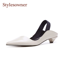Kitten Heel Back Strap Retro Sheepskin Leather  Pointed Toe