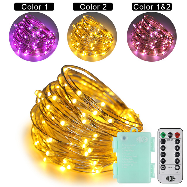 Dual Color Sliver wire LED String Lights 10m waterproof 3AA Starry Lights Warm white For Fairy Lamps / Christmas+Remote Control