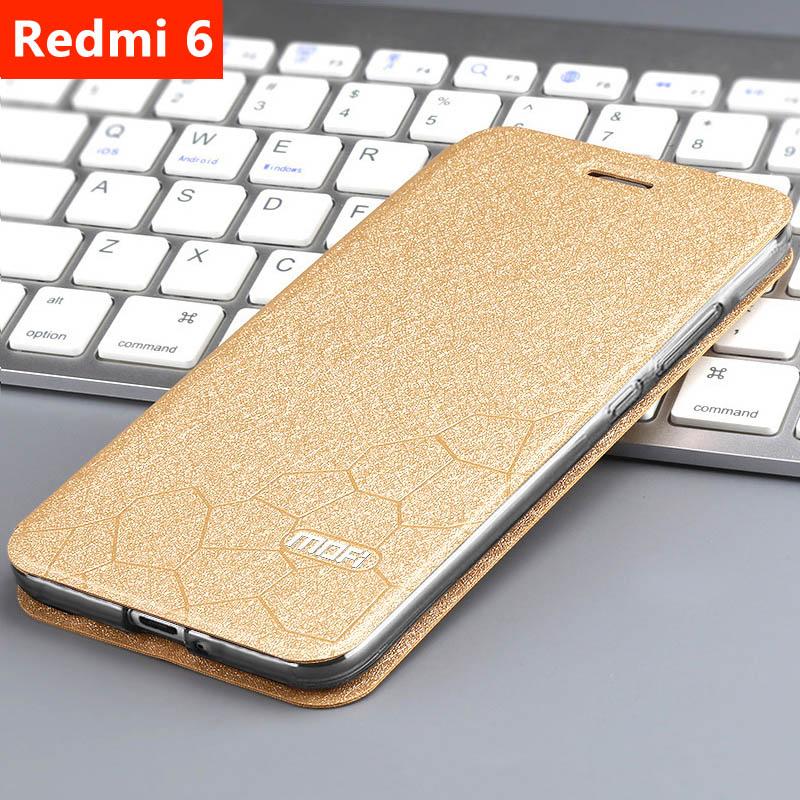 Image 2 - case for Xiaomi redmi 6 Redmi 6A Cover Leather Flip Case slim book mofi phone protect cover stand luxury glitter Redmi6 6a Case